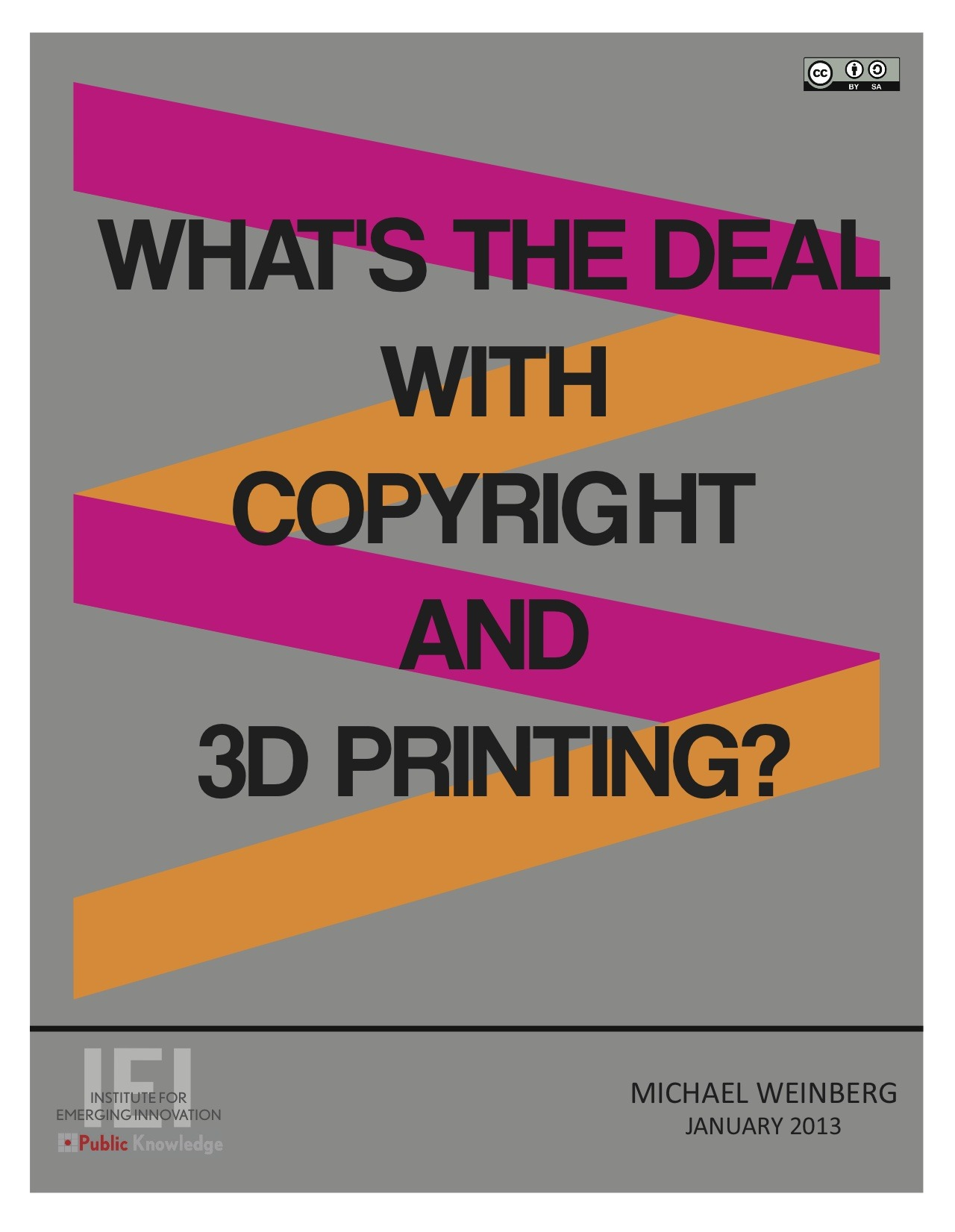 This whitepaper examines the relationship between copyright and 3D printing, focusing specifically on how copyright could be used to hinder the development and growth of 3D printing.  A PDF of this paper can be found here.  A Kindle version of this paper can be found here.